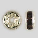 4.5mm Rhinestone Rondelle Garnet, Silver Plated