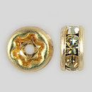 4.5mm Rhinestone Rondelle Jonquil, Gold Plated
