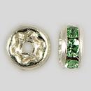 4.5mm Rhinestone Rondelle Peridot, Silver Plated