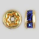 4.5mm Rhinestone Rondelle Sapphire, Gold Plated