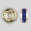 4.5mm Rhinestone Rondelle Sapphire, Silver Plated