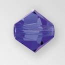 4mm MC Preciosa Bicone (Rondelle) Bead, Deep Tanzanite color