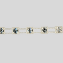 4x4mm Crystal, Alabaster Setting, Machine Cut Square Stones Plastic Banding