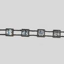 4x4mm Crystal, Black Setting, Machine Cut Square Stones Plastic Banding