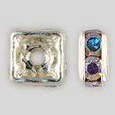 4x4mm Rhinestone Squaredelle Crystal AB, Silver Plated