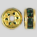 5mm Rhinestone Rondelle Emerald, Gold Plated
