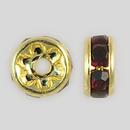 5mm Rhinestone Rondelle Garnet, Gold Plated