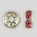 5mm Rhinestone Rondelle Rose, Silver Plated
