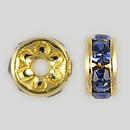5mm Rhinestone Rondelle Sapphire, Gold Plated