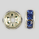 5mm Rhinestone Rondelle Sapphire, Silver Plated