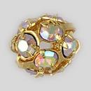6mm Rhinestone Ball Crystal AB, Gold Plated