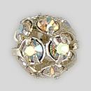 6mm Rhinestone Ball Crystal AB, Silver Plated