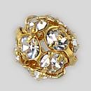 6mm Rhinestone Ball Crystal, Gold Plated