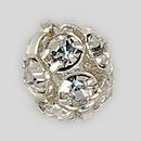6mm Rhinestone Ball Crystal, Silver Plated