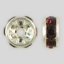 6mm Rhinestone Rondelle Amethyst, Silver Plated