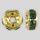 6mm Rhinestone Rondelle Emerald, Gold Plated