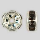 6mm Rhinestone Rondelle Garnet, Silver Plated