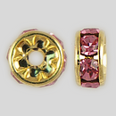 6mm Rhinestone Rondelle Rose, Gold Plated