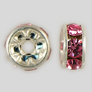 6mm Rhinestone Rondelle Rose, Silver Plated