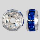 6mm Rhinestone Rondelle Sapphire, Silver Plated