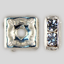 6x6mm Rhinestone Squaredelle Crystal, Silver Plated