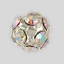 8mm Rhinestone Ball Crystal AB, Silver Plated