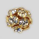 8mm Rhinestone Ball Crystal, Gold Plated
