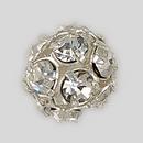 8mm Rhinestone Ball Crystal, Silver Plated