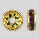 8mm Rhinestone Rondelle Amethyst, Gold Plated