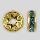 8mm Rhinestone Rondelle Aquamarine, Gold Plated