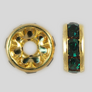 8mm Rhinestone Rondelle Emerald, Gold Plated