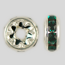 8mm Rhinestone Rondelle Emerald, Silver Plated