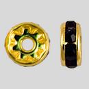 8mm Rhinestone Rondelle Garnet, Gold Plated