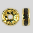 8mm Rhinestone Rondelle Jet, Gold Plated