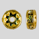 8mm Rhinestone Rondelle Jonquil, Gold Plated