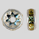 8mm Rhinestone Rondelle Jonquil, Silver Plated