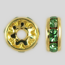 8mm Rhinestone Rondelle Peridot, Gold Plated