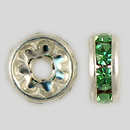 8mm Rhinestone Rondelle Peridot, Silver Plated