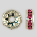 8mm Rhinestone Rondelle Rose, Silver Plated