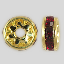 8mm Rhinestone Rondelle Siam Ruby, Gold Plated