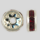 8mm Rhinestone Rondelle Siam Ruby, Silver Plated