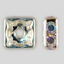 8x8mm Rhinestone Squaredelle Crystal AB, Silver Plated