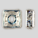 8x8mm Rhinestone Squaredelle Crystal, Silver Plated
