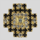 Crystal and Jet Stones, Gold Plated 23mm Rhinestone Button