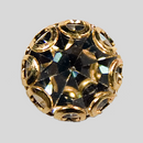 Crystal, Gold Plated 8mm Rhinestone Button, ss40