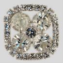 Crystal, Rhodium Silver Plated 21mm Rhinestone Button