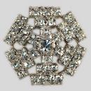 Crystal, Rhodium Silver Plated 23mm Rhinestone Button