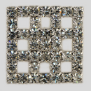 Crystal, Rhodium Silver Plated 23mm Square Rhinestone Button