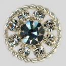 Crystal, Silver Plated 18mm Rhinestone Button, ss15.5, ss40