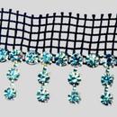 Fancy Crystal Machine Cut Metal banding with tassels on Black net